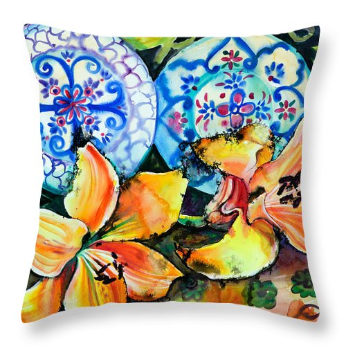 Flowers Throw Pillow featuring the painting Spanish Plates by Yelena Tylkina