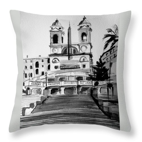 Ink Throw Pillow featuring the painting Spanish Steps by Laura Rispoli