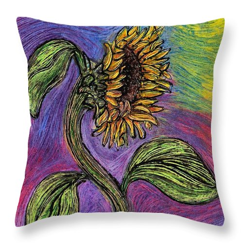 Sunflower Throw Pillow featuring the pastel Spanish Sunflower by Sarah Loft