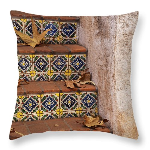 Southwest Throw Pillow featuring the photograph Spanish Tile Stair by Sandra Bronstein