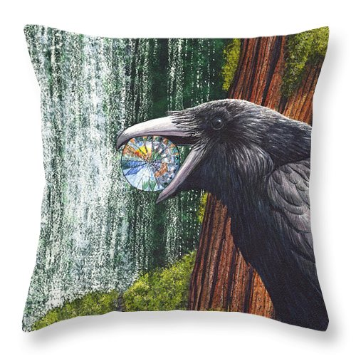 Raven Throw Pillow featuring the painting Sparkle by Catherine G McElroy