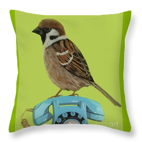 Sparrow Throw Pillow featuring the painting Sparrow Perched On Vintage Telephone by Jackie Besteman