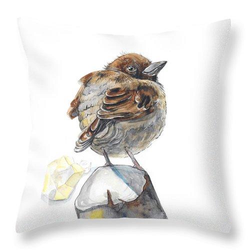 Sparrow Throw Pillow featuring the painting Sparrow by Yana Sadykova