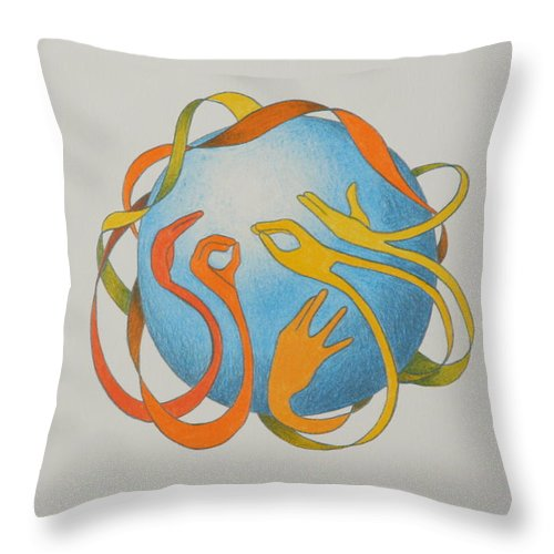 Earth Throw Pillow featuring the drawing Speak by Michelle Miron-Rebbe