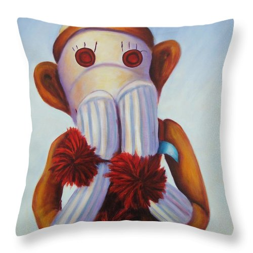Children Throw Pillow featuring the painting Speak No Bad Stuff by Shannon Grissom