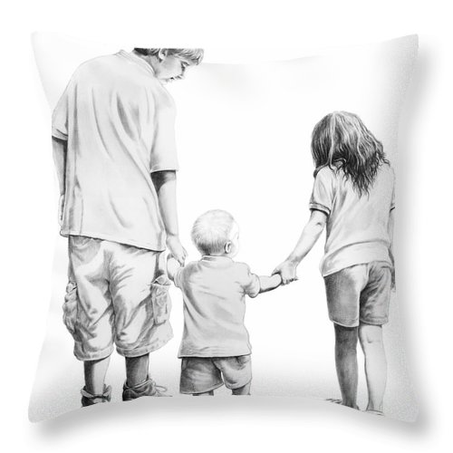 Figures Throw Pillow featuring the drawing Special Children by Murphy Elliott