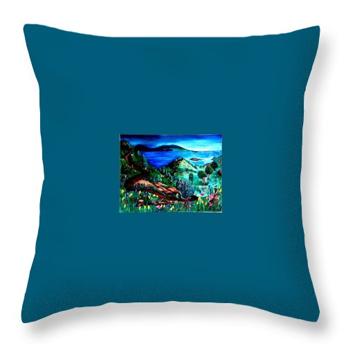 Landscape Throw Pillow featuring the painting Special Land by Andrew Johnson