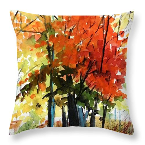 Trees Throw Pillow featuring the painting Spectacular by John Williams