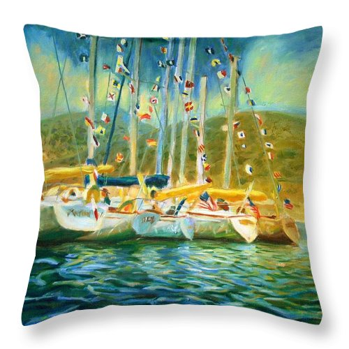 Dornberg Throw Pillow featuring the painting Spectator Boats At A Race by Bob Dornberg
