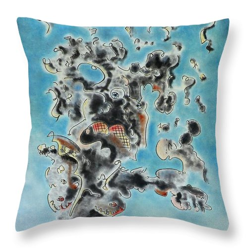 Surreal Throw Pillow featuring the painting Spectre by Dave Martsolf