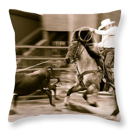 Rodeo Throw Pillow featuring the photograph Speed by Scott Sawyer