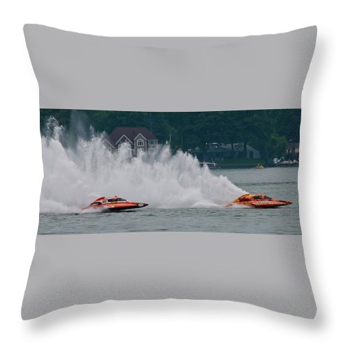 Boat Throw Pillow featuring the photograph Speedboat Trials 1961 by Guy Whiteley