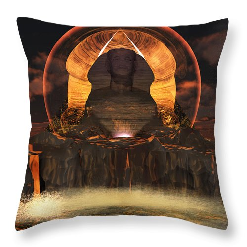 Sphinx Valley Of The Kings Throw Pillow featuring the digital art Sphinx by Steven Palmer