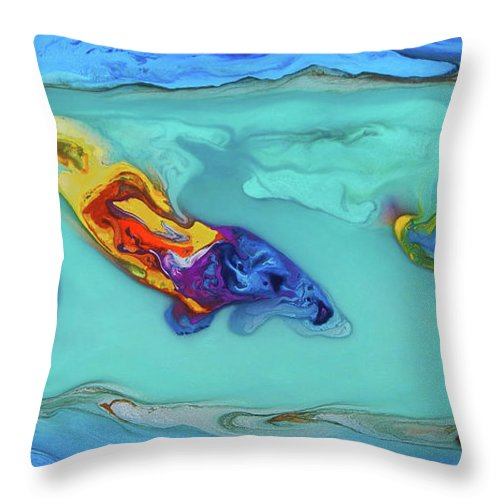 Sphyrna Media Throw Pillow featuring the painting Sphyrna media by Angel Ortiz