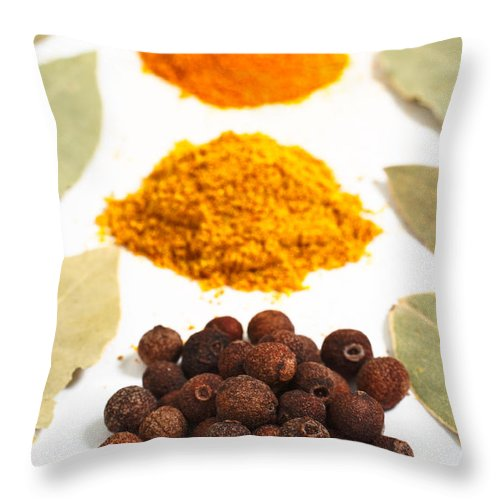 Curry Throw Pillow featuring the photograph Spices by Gaspar Avila