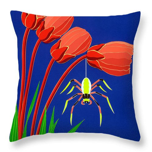 Nature Throw Pillow featuring the drawing Spider by Lucyna A M Green