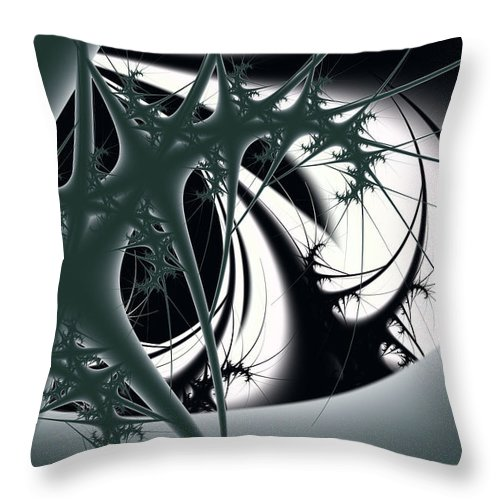 Abstract Throw Pillow featuring the digital art Spiky Bugs by Frederic Durville