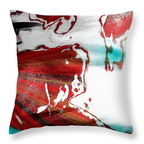 Red And Blue Abstract Throw Pillow featuring the photograph Spilled Milky Way by Shawna Rowe