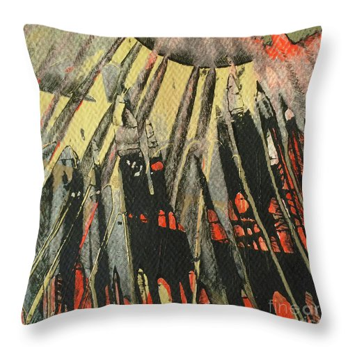 Abstracts Throw Pillow featuring the painting Spin Art Pen Series by Meridith Martens