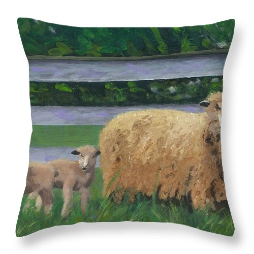 Sheep Lambs Countryside Farm Spring Throw Pillow featuring the painting Sping Lambs by Paula Emery