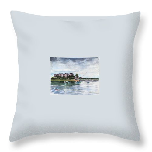 Watercolor Painting Throw Pillow featuring the painting Spinnaker Island by Laura Lee Zanghetti