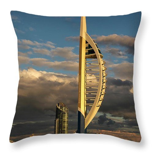 Harbor Throw Pillow featuring the photograph Spinnaker Tower by Shirley Mitchell