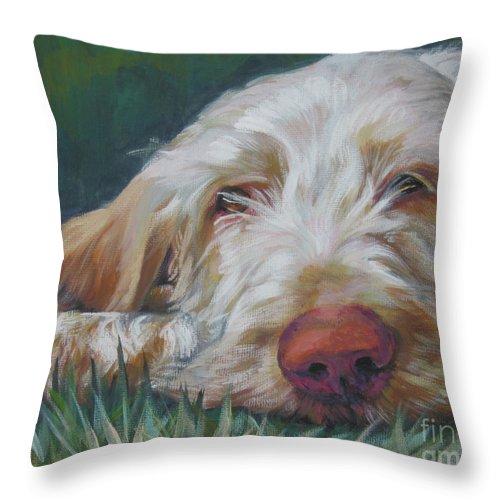 Spinone Italiano Orange White Spinoni Italian Pointer Dog Throw Pillow featuring the painting Spinone Italiano Orange by Lee Ann Shepard