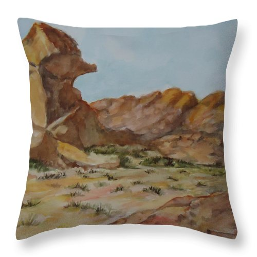 Spinx Throw Pillow featuring the painting Spinx In The Valley Of Fire by Charme Curtin
