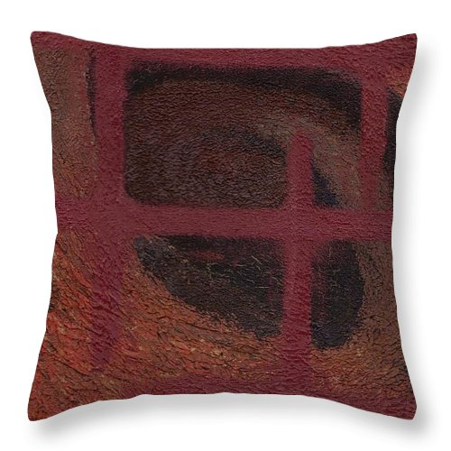 Brown Throw Pillow featuring the painting Spiral Browns Painting by Jill Christensen