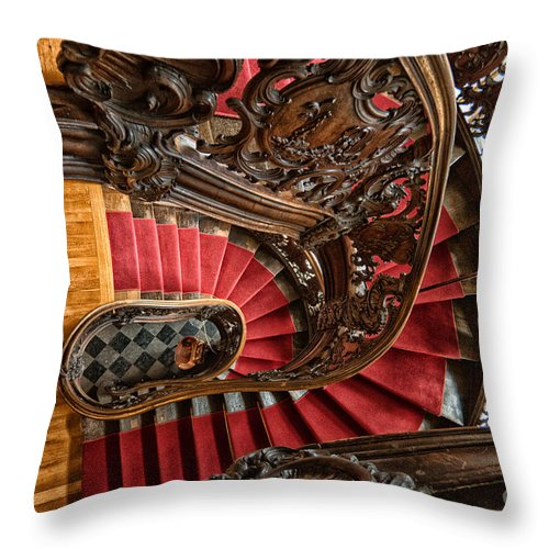 Wooden Staircase Throw Pillow featuring the photograph Spiral Staircase by Brothers Beerens