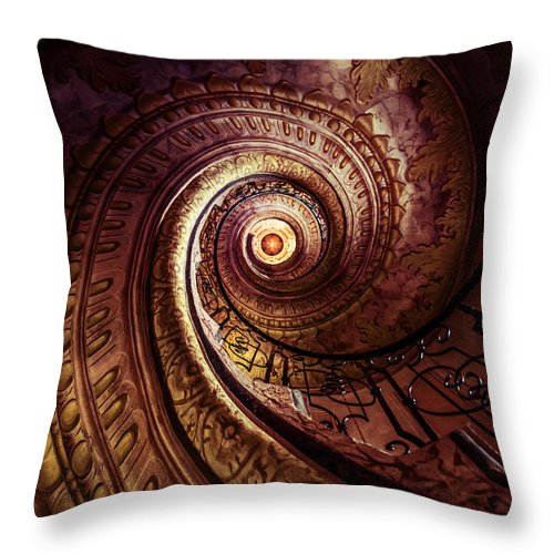 Spiral Throw Pillow featuring the photograph Spiral Staircase In An Old Abby by Jaroslaw Blaminsky