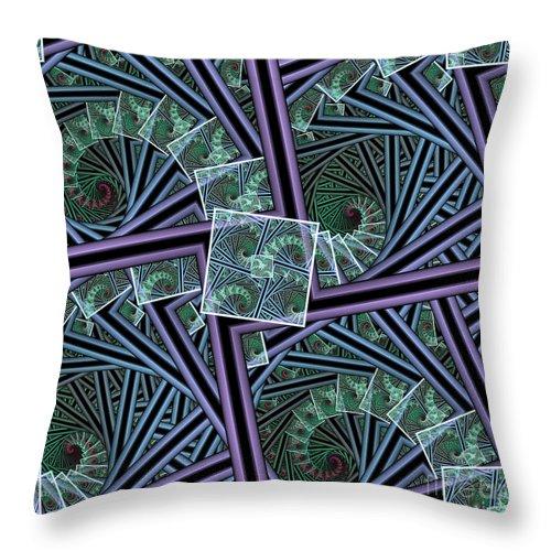 Fractal Throw Pillow featuring the digital art Spiral Staircases by Deborah Benoit