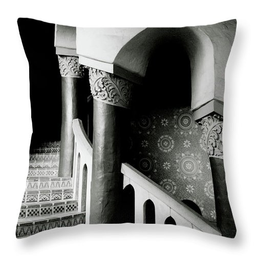 Stairs Throw Pillow featuring the mixed media Spiral Stairs- Black And White Photo By Linda Woods by Linda Woods