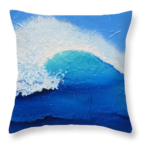 Contemporary Throw Pillow featuring the painting Spiral Wave by Jaison Cianelli