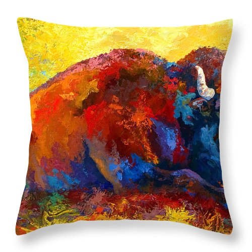 Wildlife Throw Pillow featuring the painting Spirit Brother by Marion Rose
