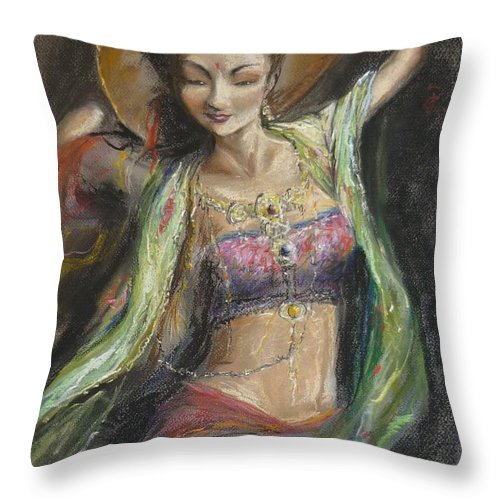 Life Energy Throw Pillow featuring the painting Spirit Dance by Lizzy Forrester