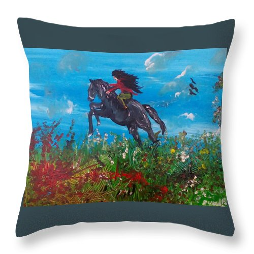 Artist Eyal Malek Acrylic Painting On Canvas Horse Woman Riding Birds Sky Field Grass Flowers Happiness Joy Freedom Throw Pillow featuring the painting Spirit by Eyal Malek