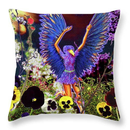 Spiritual Throw Pillow featuring the painting Spirit Guide by Miko At The Love Art Shop