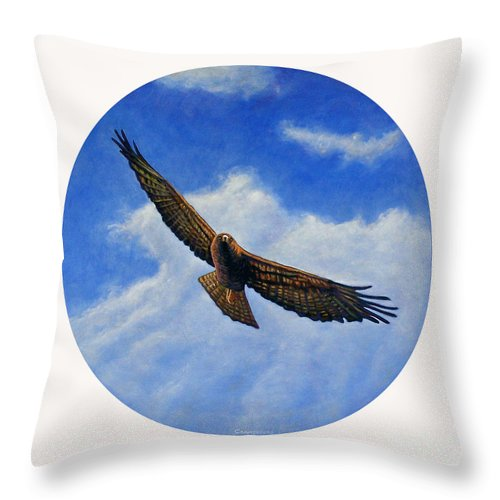Hawk Throw Pillow featuring the painting Spirit In The Wind by Brian Commerford