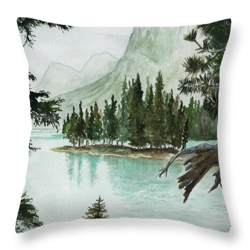 Landscape Throw Pillow featuring the painting Spirit Lake by Brenda Owen