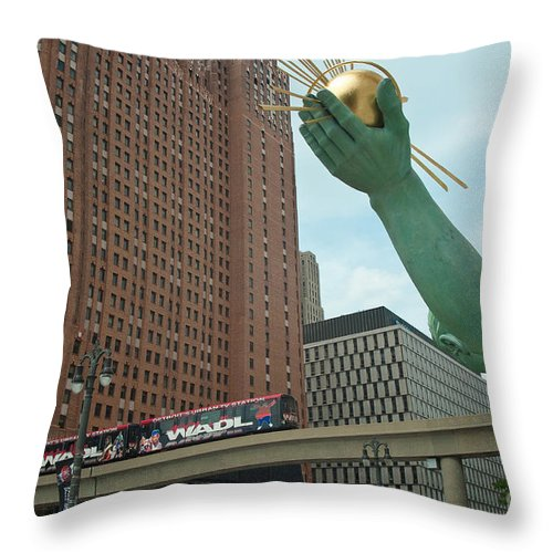 Spirit Of Detroit Throw Pillow featuring the photograph Spirit Of Detroit And People Mover by Steven Dunn