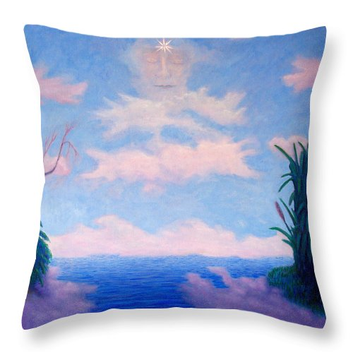 Buddha Throw Pillow featuring the painting Spirit Of The Lake by Brian Commerford