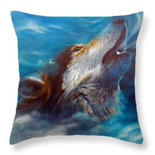 Wolf Throw Pillow featuring the painting Spirit Of The Wolf by Brian Commerford