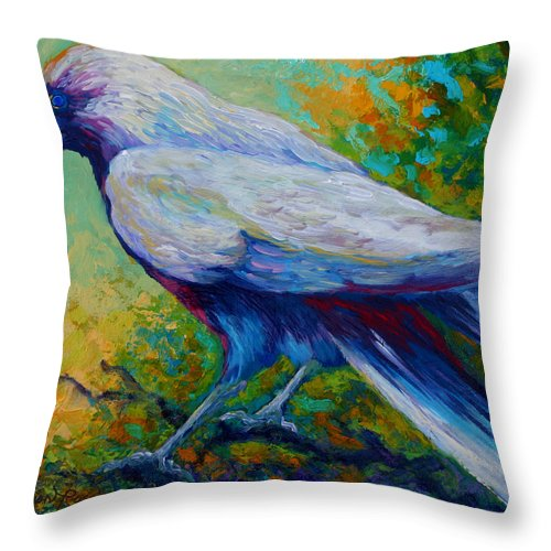 Crows Throw Pillow featuring the painting Spirit Raven by Marion Rose