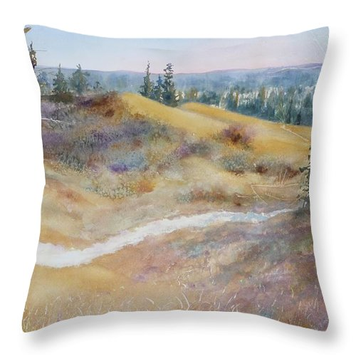 Landscape Throw Pillow featuring the painting Spirit Sands by Ruth Kamenev