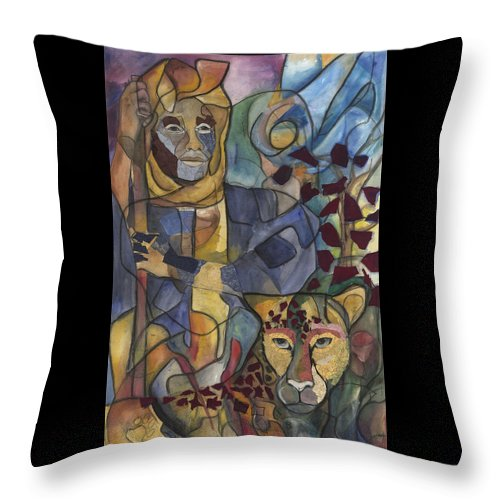 Man Throw Pillow featuring the painting Spirit Tracker by Kimberly Kirk