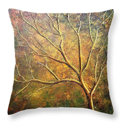 Throw Pillow featuring the painting Spirit Tree 5 by Tami Booher