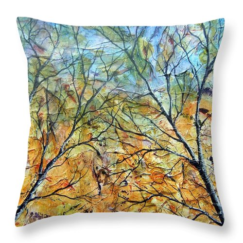 Throw Pillow featuring the painting Spirit Trees 7 by Tami Booher