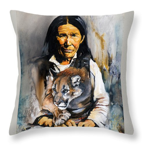 Spiritual Throw Pillow featuring the painting Spirit Within by J W Baker