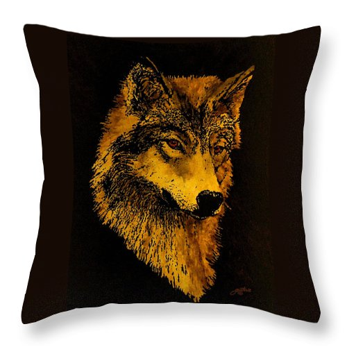 Wolf Throw Pillow featuring the painting Spirit Wolf by John Guthrie